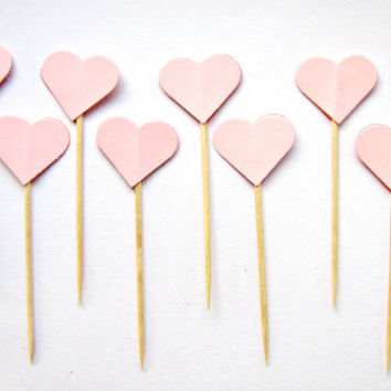 10 Pale Pink Heart Cupcake Toppers - wedding, engagement, birthday, baby shower, tea party