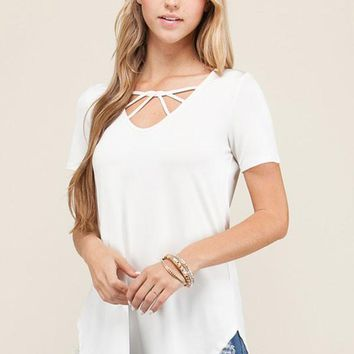 Criss Cross Front Tunic- Ivory