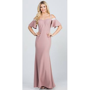 Bell Sleeve Cold Shoulder Strap Long Semi Formal Dress Rose