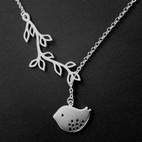 Branch bird necklace, modern lariat necklace | simplecrystal - Jewelry on ArtFire