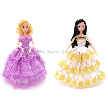 5 Pcs set Fashion Doll Clothes Princess Wedding Dress Clothing Gown Outfit Clothes Doll Accessories Toys For girls Kid For Doll