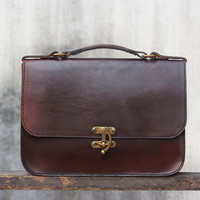Handmade Ipad Mini Leather Messenger Bag Vegetable Tanned Briefcase / Shoulder Bag / Professional / Hip Bag / Leather Purse