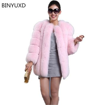 New Fashion 2016 Faux Fox Fur Coat Women Winter Medium Long Luxury Fake Fur Coats Female Jacket Overcoat Mex Mink Coat Ladies