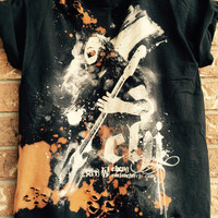 CHENG, bleached shirt, distressed shirt, band shirt,  concert T  shirt size small/medium