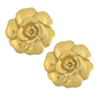 Vintage Chanel Gold Camellia Earrings | SOPHIESCLOSET.COM | Designer Jewelry & Accessories