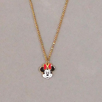 Minnie Mouse Gold Tone Necklace Disney Collectible Vintage Jewelry Long Necklace