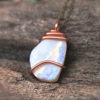 White Opal Necklace - Natural Opal Jewelry - Natural Stone Jewelry - October Birthstone Necklace - Gypsy Boho Necklace - Bohemian Jewelry