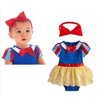 Retail Snow White Princess Baby Girl Costume Romper Dress + Headbands Infant Kids Suit Toddler Party Clothes Clothing