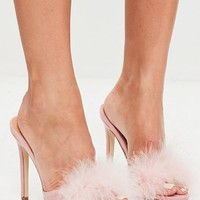 Missguided - Pink feather heeled mules