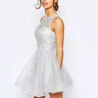 Chi Chi London Petite Lace Prom Dress With Open Scallop Back