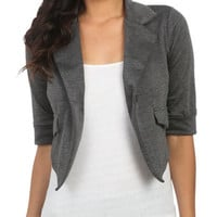 Knit Cuff Crop Blazer - Teen Clothing by Wet Seal