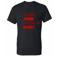 Freddy Jason Michael Chucky T-Shirt, Horror Movie Shirt, Funny Shirt, Horror Shirt, Geek T-Shirt, Geek Shirt, Mens, Womens, SM- 5X Plus Size