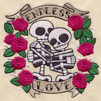 Endless Love Dia de los Muertos Skeleton Couple Embroidered Flour Sack Hand/Dish Towel