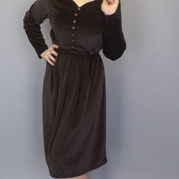 Vintage Size Large Victoria Holley Brown Velvet Shirt Dress Boho Midi Prairie Medieval Renaissance Folk Indie Hippie Peasant Wench