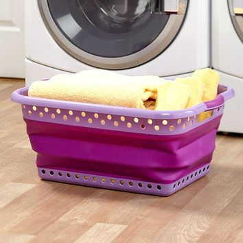 Large Purple Collapsible Laundry Basket Perforated Rubber Handle Folds Storage