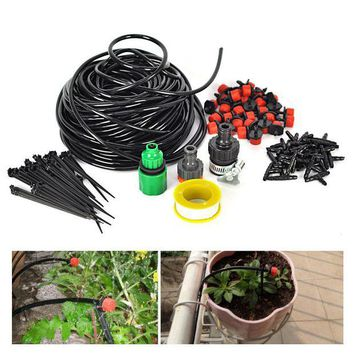 ONETOW Boruit 25M DIY Irrigation Watering Kits Micro Spray Drip System With Adjustable Smart Controller Suits For Garden Greenhose