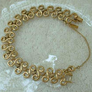 MONET Bracelet S Shaped Links Safety Chain Vintage Jewelry