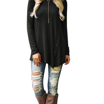 Round Neck Front Button Detail Asymmetric Sweatshirt