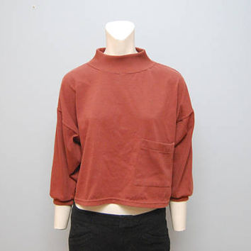 Vintage Burnt Red Brown Cropped Sweatshirt Long Sleeve Shirt with Mock Turtleneck Top Shirt with Pocket Minimalistic 1990's 1980's Retro