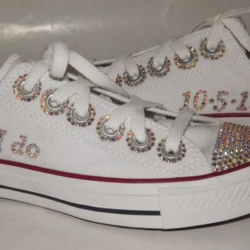 BRIDAL Custom Bling Rhinestone Chuck Taylor Converse All Star Low Top