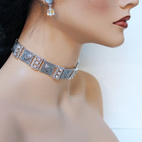 Silver Choker Necklace, Elegant Art Deco Evening Choker, Oxidized Silver, Special Occasion Bridal Jewelry
