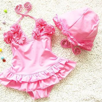 DKF4S 2pcs Baby Girls Swimwear Kids Swimming Bikinis Siamese skirt type swimsuit one piece lace sweet Bathing Suit Swimsuit with Cap