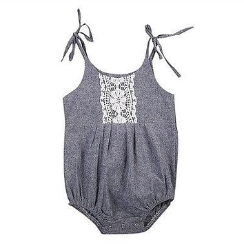 Summer 2017 Newborn Infant Baby Girl Shoulder lace Romper Jumpsuit Outfits Summer Sunsuit Clothes