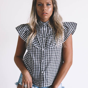 No Stopping You Now Black And White Gingham Top