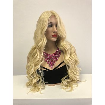 Blond Swiss Front Lace Wig | Long Curly Soft Layered Hair | Julia