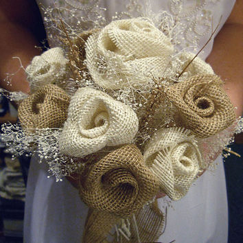 """Country Girl Burlap Bridal or Bridesmaid Bouquet. Available in two sizes, 8"""" medium or 10"""" large. Made to Order."""
