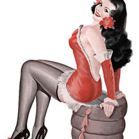 Pin Up Girl Brunette In Red Outfit Poster