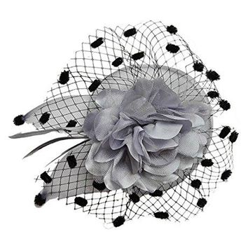 Ahugehome Women Fascinator Hair Clip Headband Veil Flower Cocktail Tea Party Headwear