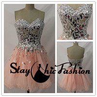 Silver Pink Sparkly Top Sweetheart Strapless Short Ruched Prom Graduation Dress, Beaded Pink Dancing Dress