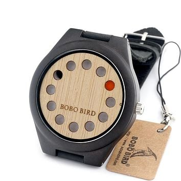 BOBO BIRD N008 12 Holes Leather Band Wooden Watch