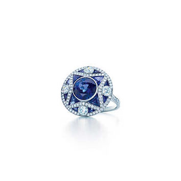 Tiffany & Co. - The Gatsby Collection ring in platinum with a 3.65-carat sapphire and diamonds.