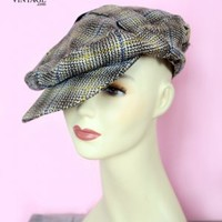 1920's Plaid Wool Antique Driving/ Ivy/ Gatsby/ Newsboy/Golf Hat 20's men's & Womens Vintage Antique Hats :