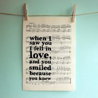 Romantic Inspirational Quote Typographic Art Print On Vintage Sheet Music | Luulla