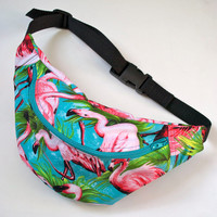 100% cotton FLAMINGO bumbag fanny pack turquoise ykk zip. fully lined fanny pack with key ring tab for children
