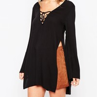ASOS 70s Lace Front Longline Tunic Top