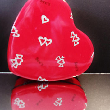 Red See's Candy Heart Tin Collectible Container Valentine's Day Home Decor Decorating Accents