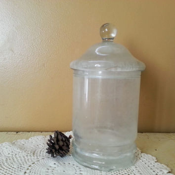 Antique Ground Glass Apothecary Jar Hand Blown