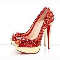 Sheepskin Revit Gold Platform Peep Toe Sandals Red [TQL120305001] - $76.49 :