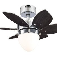 Westinghouse 7864400 Origami Single-Light 24-Inch Reversible Six-Blade Indoor Ceiling Fan, Chrome with Opal Frosted Glass