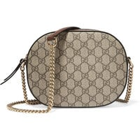 Gucci - Linea A Disco leather-trimmed coated canvas shoulder bag