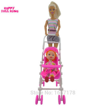 One Set New Pink Assembly Baby Stroller Trolley Nursery Furniture Toys Accessories For Barbie Kelly Size Doll 1 : 12 Puppet Gift