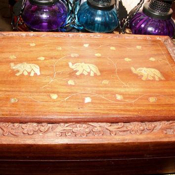 hand carved elephant wooden box 7 by 5 inches/6 by 4 inches/8 by 5 inches/Rosewood/Box with Gold Inlay and Hand-carving, Hinged Treasure Box