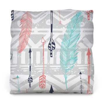 Feathers and Arrows Print Outdoor Throw Pillow
