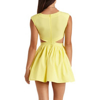 CUT-OUT DEEP V SKATER DRESS