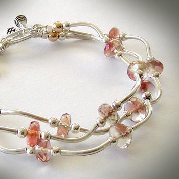 Multi-strand Oregon Sunstone Bracelet - Sterling Silver, 14k Gold Filled Accents, Artisan Silver Charms