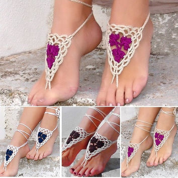 Hot Fashion Stylish Bohemian Tassels Drop Vintage Women Lady Barefoot Sandals Crochet Feet Ankle Anklet Chain = 1928661636